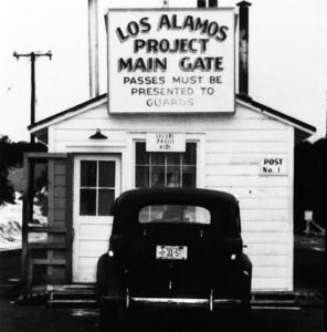The main gate of Los Alamos, c. 1945
