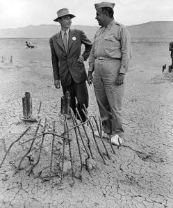 Oppenheimer (left) and Groves (right) at the site of the Trinity Tes